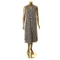 ANNE KLEIN NEW Women's Black Floral Drawstring Midi Fit &Flare Dress TEDO