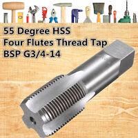 G3/4-14 26 x 2.2mm BSP 55° HSS 4 Straight Flutes Pipe Thread Tap