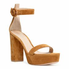 *BNIB* GIANVITO ROSSI - Beige Portofino Platfom Suede Sandals - 37.5