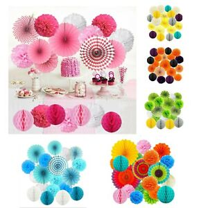 All-In-One Hanging Paper Fan Tissue Pompoms Honeycomb Ball Party Decorations