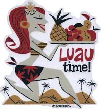 Luau Time! STICKER Decal Hawaiian Hula Girl With Fruit Tray Derek Yaniger DY44