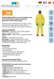 MICROGARD® MICROCHEM® 3000 Chemical Biohazard Coverall Overall PPE Ansell Hazmat