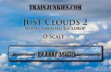 "TrainJunkies O Scale ""Just Clouds 2"" Model Railroad Backdrop 24x144"""