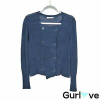 Eileen Fisher Size S Women's Sweater Blue Linen Knit Double Button Cardigan