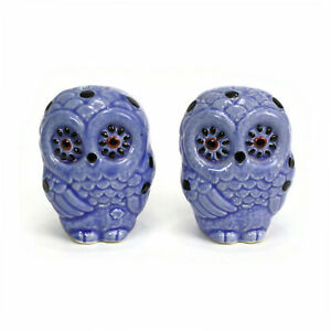 VTG BLUE OWLS Salt Pepper Shakers | Spotted Owl | Retro 60s-70s Kitsch | Japan