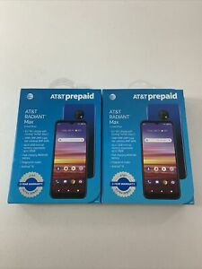 TWO AT&T RADIANT MAX 4G LTE 6.5 Inch, U705AA, 32GB, Blue GSM Phone NEW PREPAID