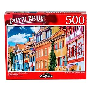 Puzzlebug Colorful Houses in the Swiss Town of Stein am Rhei, Jigsaw Puzzle 500p