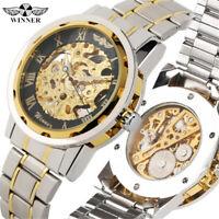 WINNER Skeleton Stainless Steel Mechanical Hand Winding Skeleton Men Wristwatch