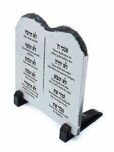 Decorative STONE stand shape Tablets of the Law Covenant ENGLISH 10 Commandments