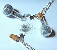 EMERGENCY GLITTER RESERVE pixie dust fairy sparkle glam bottle jar necklace M1