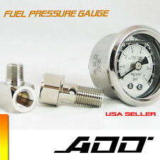 ADD W1 Fuel Pressure Regulator gauge 0-100 PSI Liquid Fill chrome oil Gauge #100