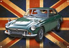 Clásico Británico MGC GT Letrero Metal
