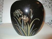 Vintage KYORITSU JAPANESE BLACK  IRIS & DRAGONFLY GLAZED PORCELAIN OVAL VASE
