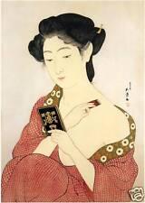 Japanese Art Print: Woman at MakeUp Goyo- Reproduction