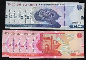 Uzbekistan  - 20 000 & 2000 som 2021,  x 5 sets,  UNC
