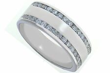 Mens 14k white gold and diamond wedding band .75ct size 11  8.8 grams