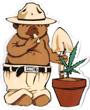 SMOKING BEAR growing hemp STICKER -pot 420 weed ganja *FREE SHIPPING* -d 15583