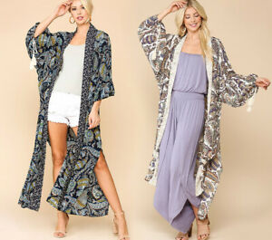 GiGiO By UMGEE Long Maxi Kimono Duster Boho Paisley Tassel Sleeves Open Front
