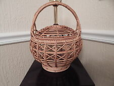 Vintage Rattan Wicker Arts & Crafts Woven Basket Table Lamp-Rare / Unique Design