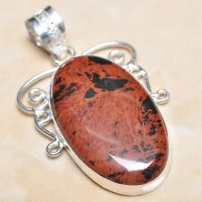 """Handmade Obsidian Mahogany Jasper 925 Sterling Silver Pendant 2.25"""" #P06211"""