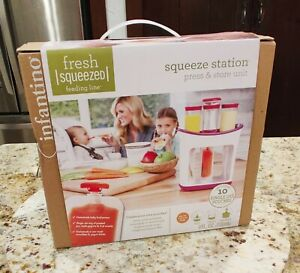 Brand New Infantino Fresh Squeezed Squeeze Station Baby Food Maker w/ 10 Pouches