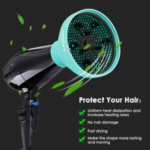 Silicone Hair Diffuser+Brush+Bag Collapsible Portable Attachment Curly No Frizz