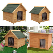 EXTRA/LARGE DOG KENNEL WOODEN PET HOUSE APEX/FLAT ROOF OUTDOOR SHELTER WOOD HOME