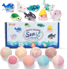 Bath Bombs Kids with Sea Animal Toys 8 Pack Bubble Bath with Surprise Toy Set