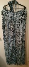 NWOT Women's Plus Size 26/28 LANE BRYANT Black & Blue Animal Maxi Halter Dress