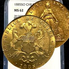 1885 CHILE 10 PESOS GOLD NGC MS62 HIGHEST GRADE EVER LOW MINTAGE  RARE      Q22