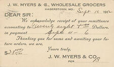 Hagerstown MD * J.W. Myers Grocers 1912 Postal Card