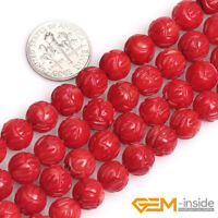 "Flower Coral Round Buddha Carved Lotus Beads For Jewelry Making Strand 15""YB 8mm"