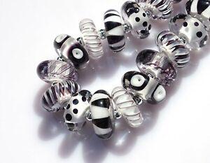 FRISKEY handmade Lampwork Glass Beads, BLACK & WHITE  !!!