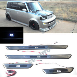 For 04-06 Scion xB Toyota bB White LED Door Foot Step Trim Sill Panel Cover x4