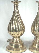 PAIR MID CENTURY MODERN SPIRAL TWIST ARCHITECURAL FINIAL BRASS VASE LAMPS
