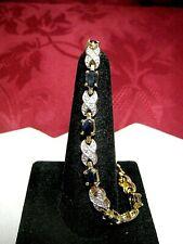 "Gold Plate Oval Sapphire & Crystal Stone X Love Tennis Fashion Bracelet 7.25"""