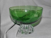 kleine Schale Fußschale, grünes Glas, 50er Jahre