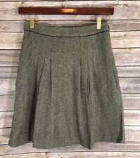 Banana Republic Womens Skirt Size 0 Brown Herringbone Wool Blend A Line Career