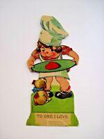 Vintage Die Cut Mechanical Antique Valentine Card w/ Boy Give Heart to Puppy *