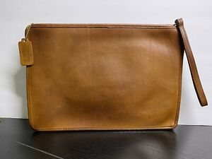 Rare Vintage Coach NYC British Tan Slim Clutch Large Portfolio 9555