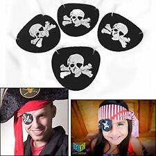 24 Black Felt Eye Patches Pirate Eyepatches White Skull Party Favors Costume