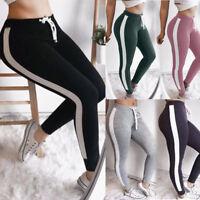 US Woman Side Striped Harem Pants Sport Legging Black Long Elastic Waist Trouser