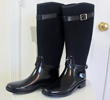 Hunter Limited Regent Chancery Black Rubber-Canvas Riding Rain Boots US 8 EU 39