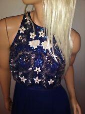 new ASOS SEQUIN BLING prom illusion crop top maxi chiffon navy dress us 14