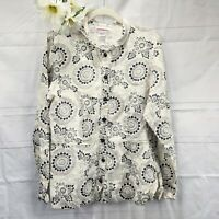 Solitaire Urban Outfitters Cream Women's Linen Button-Up Tunic Top Size Large
