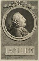 CHODOWIECKI (1726-1801). Portrait von J. A. Philippi; Druckgraphik 1
