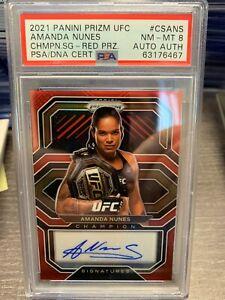 2021 Panini Prizm UFC AMANDA NUNES RED AUTO /49 PSA 8 CHAMPION SIGNATURES