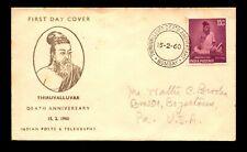 India 1960 Thiruvalluvar FDC / Minor Toning - L9188