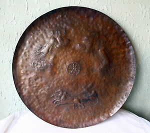 ANTIQUE 17/18`c PERSIAN Handcrafted ENGRAVED SOLID COPPER LARGE TRAY TABLE PLATE