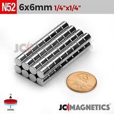"6mm x 6mm 1/4""x1/4"" N52 Strong Cylinder Disc Rare Earth Neodymium Magnet Fridge"